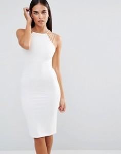 Платье-футляр миди в рубчик Rare - Белый