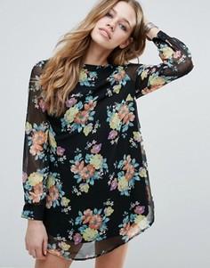 Цельнокройное платье с цветочным принтом Raga Penelope - Черный