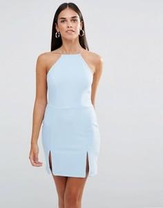 Платье мини с квадратной горловиной и разрезами Rare - Синий