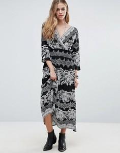 Платье с присборенной юбкой и принтом Raga Bonnie - Черный