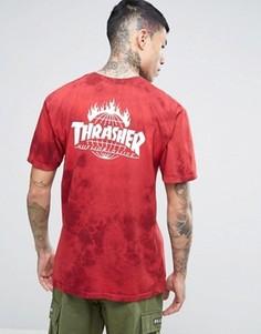 Футболка с принтом тай-дай HUF x Thrasher - Красный