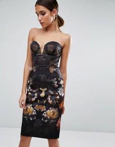 Платье миди бандо с цветочным принтом ASOS - Мульти