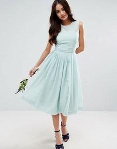 Платье миди с драпированной вставкой ASOS WEDDING - Синий