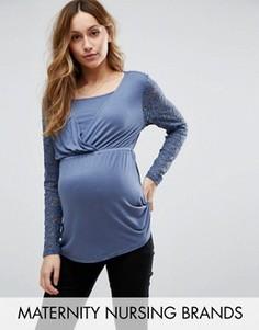 Туника с кружевными рукавами для беременных и кормящих Mamalicious Maternity - Синий Mama.Licious