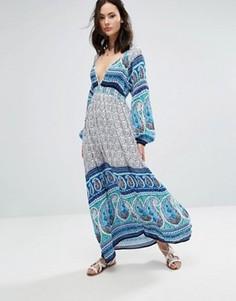 Платье макси с глубоким вырезом и принтом Raga Love Spell - Синий