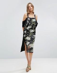 Платье-комбинация с вышивкой и открытыми плечами ASOS PREMIUM - Черный
