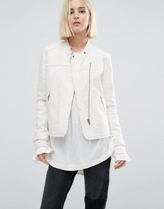 Байкерская куртка из твида без воротника Pepe Jeans Iren - Белый