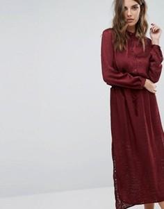 Платье макси с выжженным узором и поясом на талии Sisley - Красный