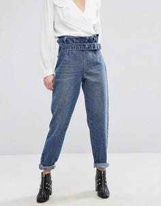 Джинсы в винтажном стиле с присборенным поясом Lost Ink - Синий