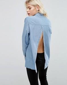 Джинсовая рубашка с открытой спинкой ASOS - Синий