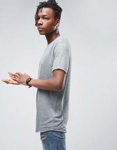 Серая фактурная футболка удлиненного кроя ASOS - Серый