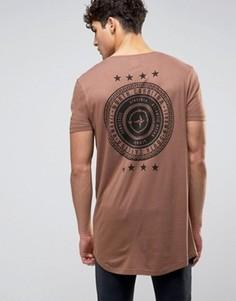Супердлинная футболка с принтом компаса и звезд на спине ASOS - Коричневый