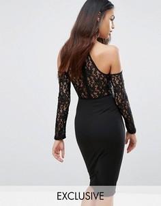 Платье миди с чокером, кружевным топом и открытыми плечами NaaNaa - Черный