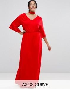 Платье макси с широкими рукавами ASOS CURVE - Красный