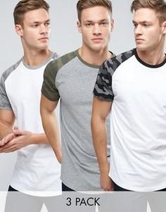 3 футболки с камуфляжным принтом на рукавах реглан Jack & Jones Originals - СО СКИДКОЙ - Мульти
