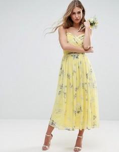 Присборенное платье миди с цветочным принтом ASOS WEDDING - Мульти