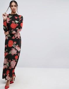 Платье макси с длинными рукавами и цветочным принтом ASOS - Мульти
