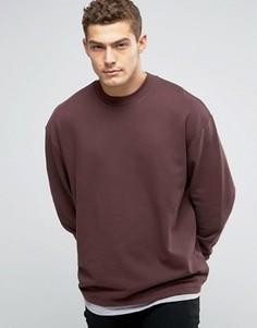 Бордовый oversize-свитшот с эффектом футболки по нижнему краю ASOS - Красный
