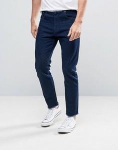 Синие укороченные джинсы слим с необработанными краями ASOS - Синий