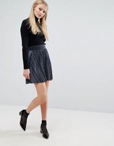 Бархатная мини-юбка в складку Vila - Темно-синий