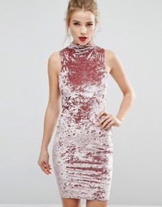 Бархатное облегающее платье New Look - Розовый