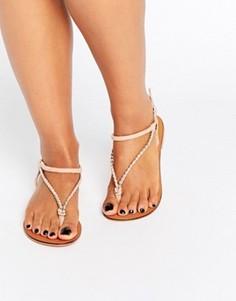 Замшевые сандалии с плетеными ремешками ASOS FIXATION - Розовый