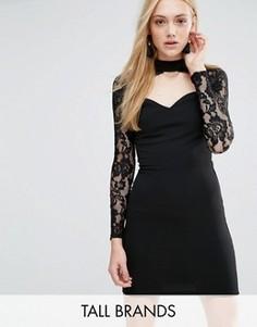 Платье с вырезом на горловине и длинными рукавами Parisian Tall - Черный