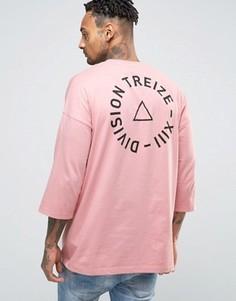 Oversize-футболка с принтом на спине и рукавами 3/4 ASOS - Розовый
