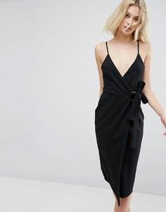 Платье миди с запахом из крепа ASOS - Черный