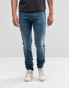 Темно-синие джинсы скинни с легкими потертостями ASOS - Синий