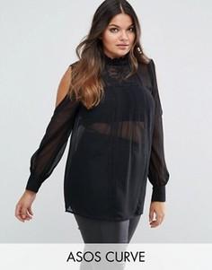 Блузка с вырезами на плечах и кружевной отделкой ASOS CURVE - Черный