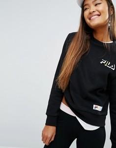 Свободный свитшот бойфренда с логотипом на груди Fila - Черный