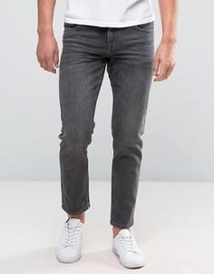 Черные укороченные стретчевые джинсы слим ASOS - Черный