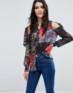 Блузка с завязками на плечах и принтом ASOS - Мульти