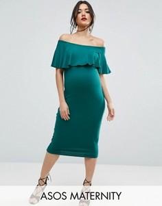 Платье-футляр миди с вырезом лодочкой и оборкой ASOS Maternity - Зеленый