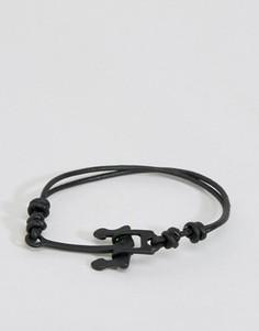 Черный браслет с якорем Icon Brand Alton - Черный