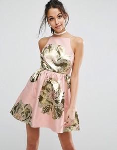 Жаккардовое платье мини для выпускного ASOS - Розовый