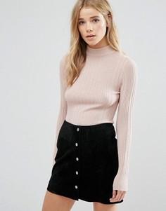 Джемпер металлик с высокой горловиной New Look - Розовый
