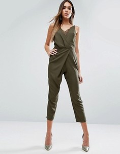 Комбинезон на бретельках с широкими брюками и кружевной отделкой ASOS - Зеленый