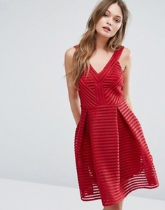 Сетчатое короткое приталенное платье с глубоким вырезом New Look - Красный