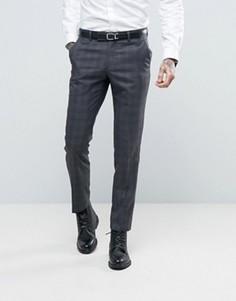 Серые узкие брюки в клетку Ben Sherman - Серый