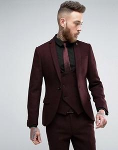 Супероблегающий пиджак из твида Харрис Noose & Monkey - Красный