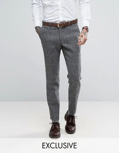 Суперузкие брюки из твида Харрис Heart & Dagger - Серый