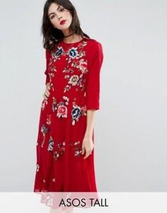 Короткое приталенное платье миди с цветочной вышивкой ASOS TALL PREMIUM - Красный