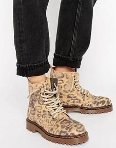 Леопардовые ботинки на толстой подошве со шнуровкой Park Lane - Мульти