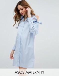 Платье-рубашка для беременных с вырезами на плечах ASOS Maternity - Синий