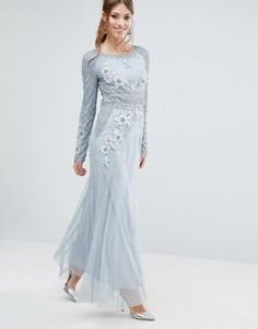 Платье макси с длинными рукавами и отделкой Frock and Frill - Серый