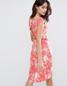 Жаккардовое платье миди с вырезом-капелькой сзади Little Mistress - Красный