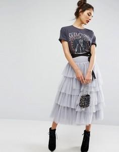 Ярусная юбка миди для выпускного из тюля с поясом ASOS - Серый