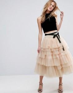 Ярусная юбка миди для выпускного из тюля с поясом ASOS - Розовый
